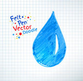 Felt pen childlike water drop — Stock Vector