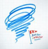 Childlike drawing of hurricane — Stock Vector