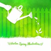 Gardening background with watering can — Stok Vektör