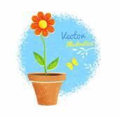 Orange flower in pot — Stock Vector