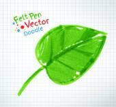 Felt pen Green leaf drawing — Stock Vector