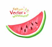 Child drawing of watermelon. — Stock Vector