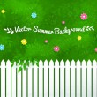 Blooming shrubs and fence. — Stock Vector #75747405