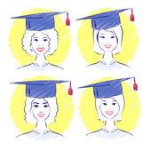 Women wearing graduation caps — Stock Vector