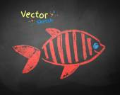 Chalked drawing of fish — Stock Vector
