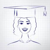 Girl wearing graduation hat — Stock Vector
