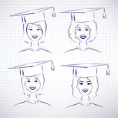 Students wearing graduation hats — Stock Vector