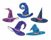 Childlike drawings of witch hats — Stock Photo