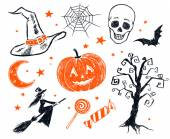 Halloween characters and objects — Stock Photo
