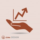 Graph in hand icon — Stock Vector