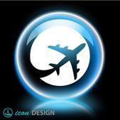 Ikona letadla — Stock vektor