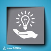 Bulb in hand icon — Stock Vector