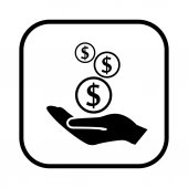 Money in hand icon — Stock vektor