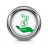 Money in hand icon — Stock Vector