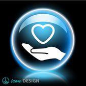 Ikony Symbols serca w ręku — Wektor stockowy