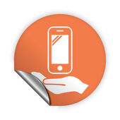 Mobile in hand icon — Vettoriale Stock