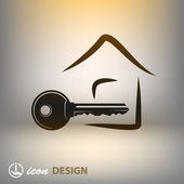 Key and house icon — Stockvector