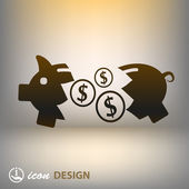 Piglet money box icon — Stock Vector