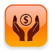 Money in hands icon — Stock Vector