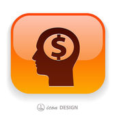 Money in head icon — Stockvector