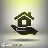 Home on hand icon — Stock Vector