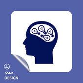 Light bulbs in head icon — Stok Vektör