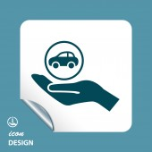 Auto in pictogram van een hand — Stockvector