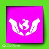 Globe in hands icon — Stockvektor