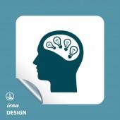 Light bulb in head icon — Stockvektor