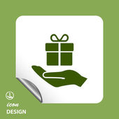 Gift in hand icon — Stock Vector