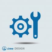 Gear and wrench icon — Vettoriale Stock