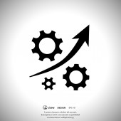 Gear with growth arrow icon — Stockvektor