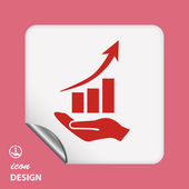 Graph on hand icon — Vettoriale Stock