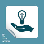 Bulb in hand icon — 图库矢量图片