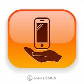 Mobile in hand icon — Stock Vector