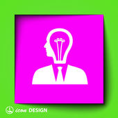 Light bulbs in head icon — Stockvektor