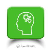 Gear in head icon — Vettoriale Stock