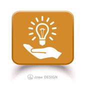 Light bulb on hand icon — Stock Vector