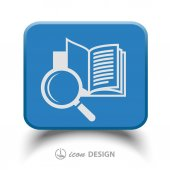 Book with magnifying glass icon — Stockvector