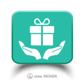 Gift in hands icon — Stock Vector
