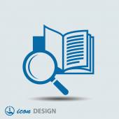 Book with magnifying glass icon — Vecteur