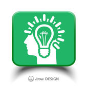 Light bulbs in head icon — Stock Vector
