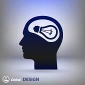 Light bulb in head icon — Stock Vector