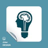 Lamp in hoofd pictogram — Stockvector