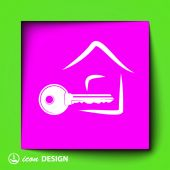 Key and house icon — Stock Vector