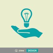 žárovka v ikona ruky — Stock vektor