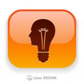 Light bulbs in head icon — Stock Vector