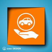 Car in hand icon — Vector de stock