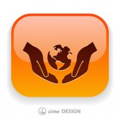 Globe in hands icon — Vector de stock