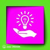 Light bulb on hand icon — Stockvektor